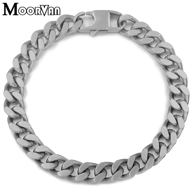 Moorvan men Curb Chain Fashion Bracelet Silver Color Party Trendy Brushed Stainless Steel 8mm women jewellery Friendship Gifts