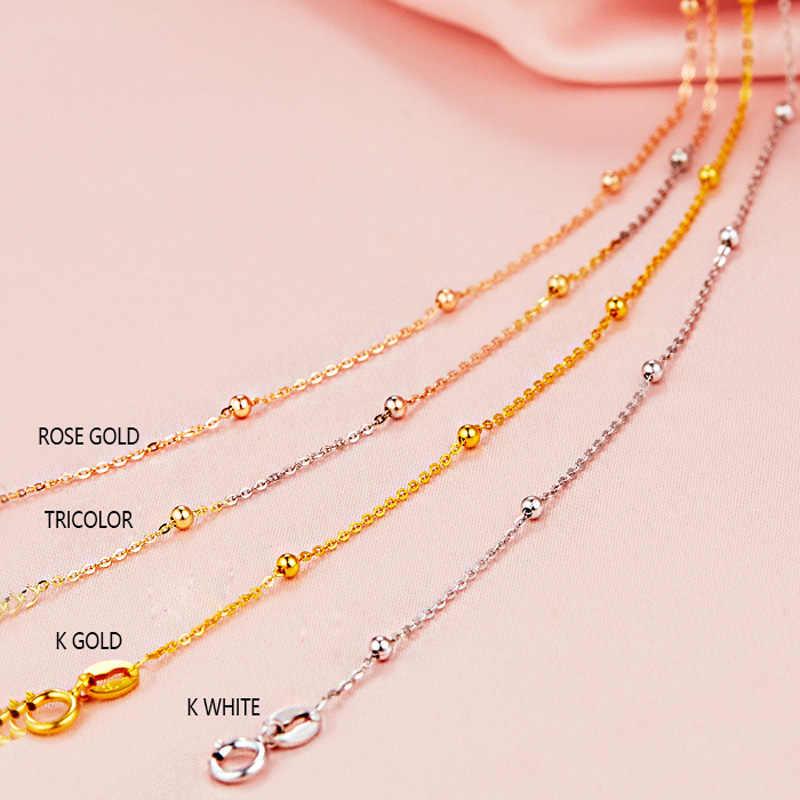 18 k Tinh Khiết Vàng Vòng Cổ Trắng Vàng Rose Hạt Chuỗi Cho Phụ Nữ Cô Gái Quà Tặng Đồ Trang Sức Mỹ Mới Hot Bán Cao Cấp top Tốt Tốt Đẹp Như