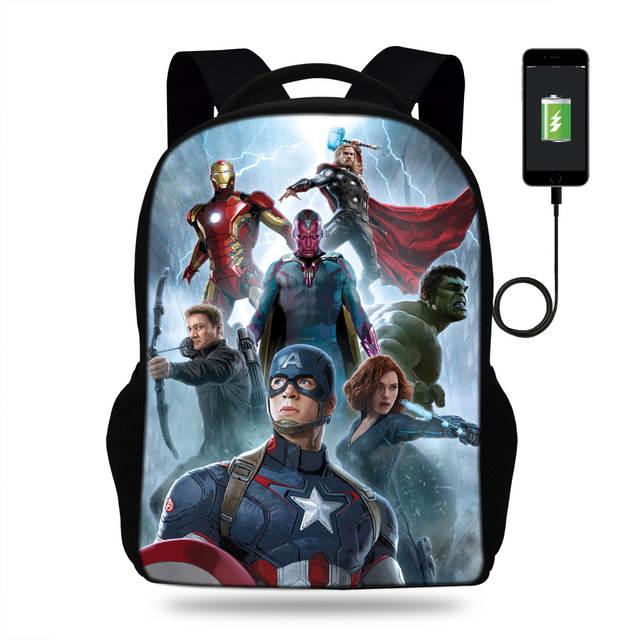 placeholder 16-Inch Hot Sale Character Bag Marvel Avengers Backpack For Kids  Boys Girls Students School e159377bd32af