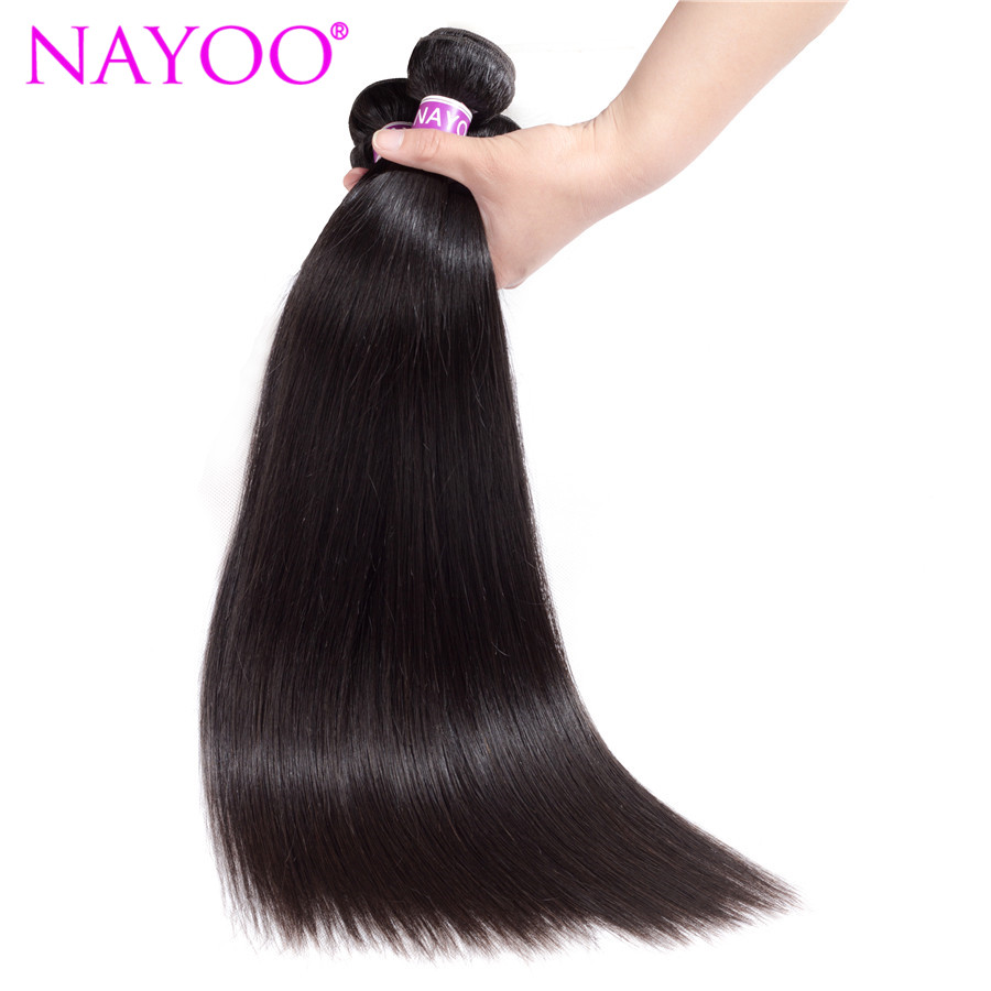 NAYOO Peruvian Straight Hair Bundles 100% Remy Human Hair Extensions 1Pcs Only Can Buy 3-4 Bundles 8-26 Inches Natural Color