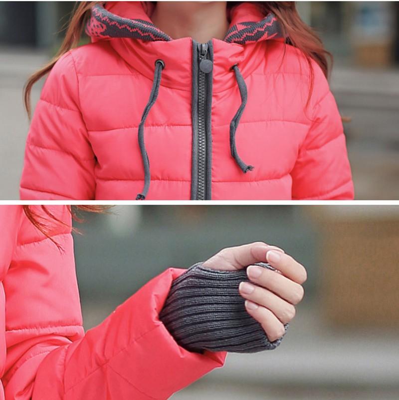 Women Winter Coat Long Sleeve Print Floral Hooded Slim Winter Parka Plus Size Cotton-Padded Jackets 2XL (3)