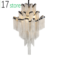 Led Tassel Pendant Lamp Silver metal Chain Chandelier Post Modern Luxury Lighting Fixture