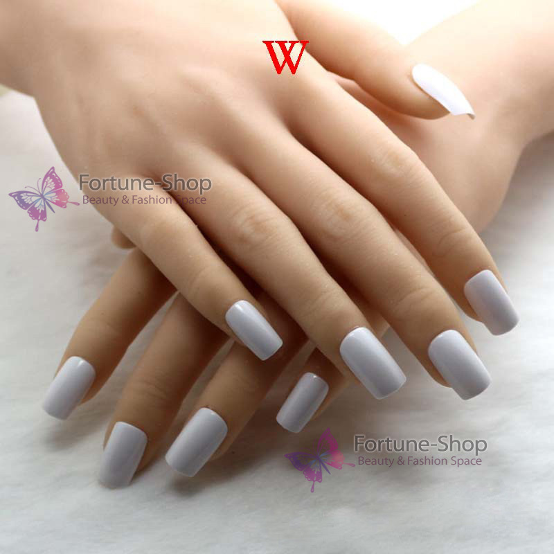 TKGOES 24pcs Candy white acrylic french nails free double side ...