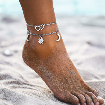 IF ME Bohemian Multilayers Anklets For Women Girl Vintage Silver Color Moon Sun Beach Pendant Ankle Bracelet on Leg Foot Jewelry