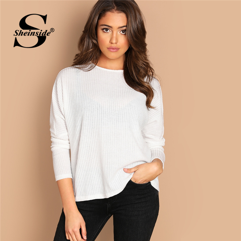 Sheinside White T-shirts Women Solid Rib Knit Tee Office Ladies Tops & Tees Womens Long Sleeve Top 2019 Autumn Female T Shirt