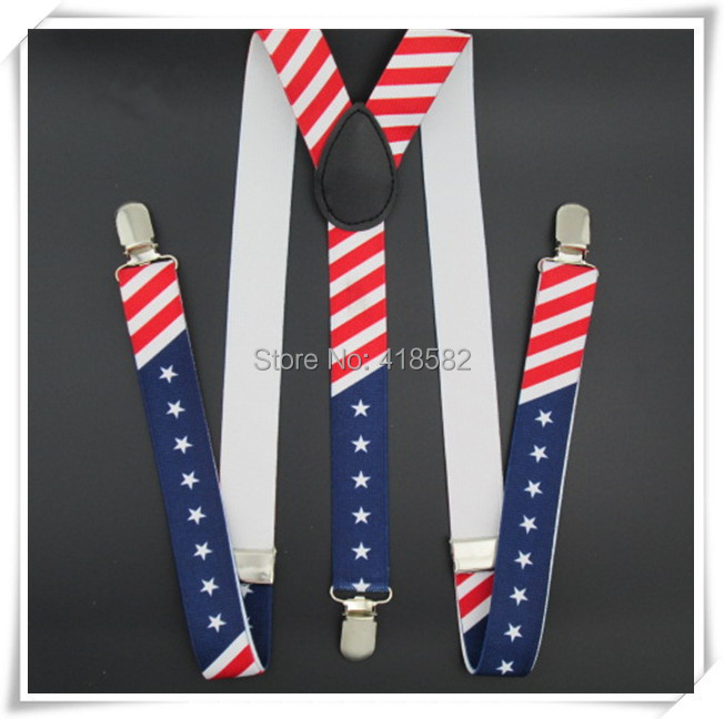 BD020--2015 Hot Fashion  Men Suspenders Flag Print 3 Colors Suspenders 100cm Length 2.5 Width 3 Clips Braces Free Shipping