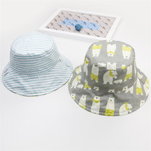 Double-sided Soft Cotton Summer Baby Sun Hat Infant Boys Girls Bucket Sun protection Hat Denim Cotton Toddler Kids Tractor Cap