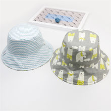 c6a8520c6ed Double-sided Soft Cotton Summer Baby Sun Hat Infant Boys Girls Bucket Sun  protection Hat Denim Cotton Toddler Kids Tractor Cap