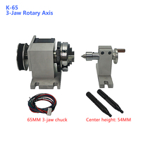 CNC tailstock 4th Axis A Axis Rotary Axis with 3 Jaw Chuck 65mm Center Height 54mm for CNC Router