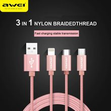 Awei cl-970 Portable 3 in1  Data Cable Multiple Connector with TypeC for apple huawei xiaomi oppo vivo