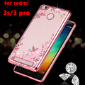 luxury soft tpu phone back coque cover case for Xiaomi redmi3 redmi 3 pro prime 3s s silicon silicone Clear transparent diamond