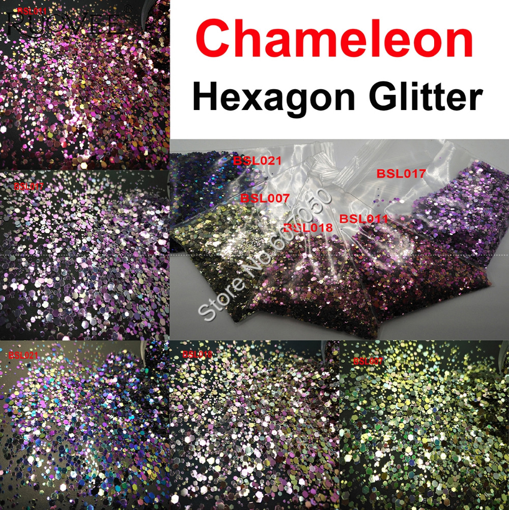 5COLORS Chameleon Glitter Mixed Metallic Luster Hexagon Shape Nail Art for Craft Decorations Makeup Facepainting DIY Accessories5COLORS Chameleon Glitter Mixed Metallic Luster Hexagon Shape Nail Art for Craft Decorations Makeup Facepainting DIY Accessories