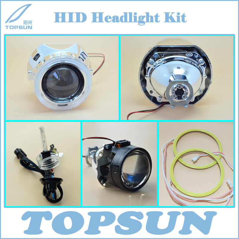 GZTOPHID Car Light Kit 2.5 inch WST Projector Lens for H4 H7 Socket, Cover, TC 35W H1 HID Xenon Bulb and COB Angel Eyes 2 5inch bixenon projector lens with drl day running angel eyes angel eyes hid xenon kit h1 h4 h7 hid projector lens headlight