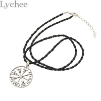 Lychee Vintage Viking Runes Vegvisir Compass Pendant Necklace Viking Odin S Symbol Of Norse Runic Necklace