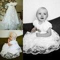 Урожай короткие рукава Белый/слоновая кость кружева детские крещение платье девочки крещение платья с капота и кристалл ремень