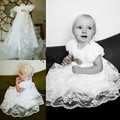 Vintage short sleeves White/ ivory lace infant baptism dress baby girl christening gowns with bonnet and crystal belt