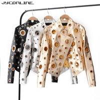 JYConline 2017 Fashion PU Women Jacket Autumn Metal Motor Punk Bomber Jacket Silver Golden Hollow Out Jacket Female Streetwear