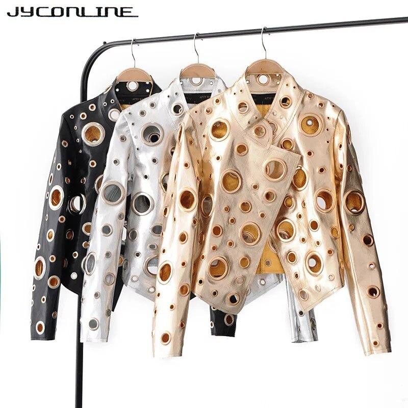 JYConline 2017 moda PU mujer chaqueta otoño Metal Motor chaqueta de bombardero Punk plata de oro ahueca hacia fuera la chaqueta mujer Streetwear