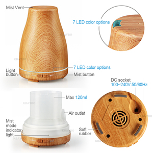 Image 3 - KBAYBO 120ml Aroma Essential Oil Diffuser Ultrasonic Air Humidifier with Wood Grain
