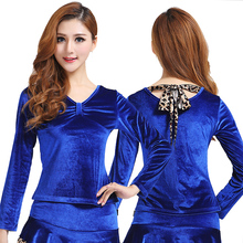 2017 Latin Dance Dress Dress Korea Velvet For Square Fashion Suits Autumn Female Long Sleeved Shirt With Thickening Of Costume