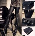 Free Shipping PU Leather Pants Women High Waist Black Stretchy Leggings Stitching Pencil Trousers