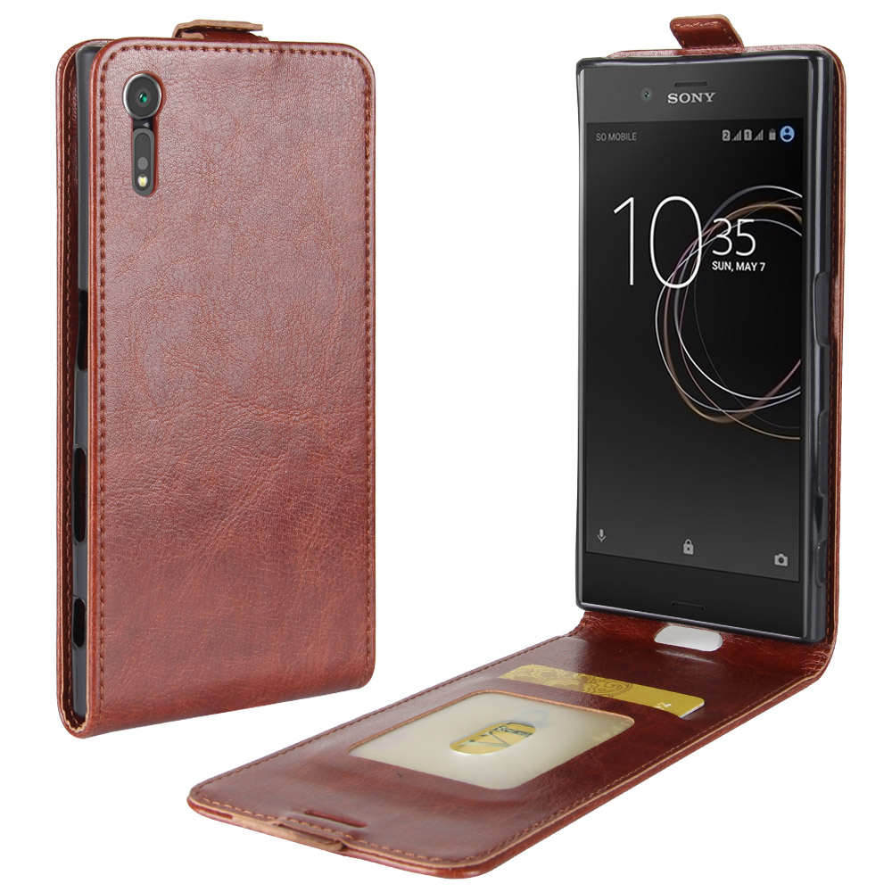 XZ Case for Sony Xperia XZs Down Open Style Cases Flip Leather Thick Solid Covers Card Slot Protect Cover Black for XZ XZs