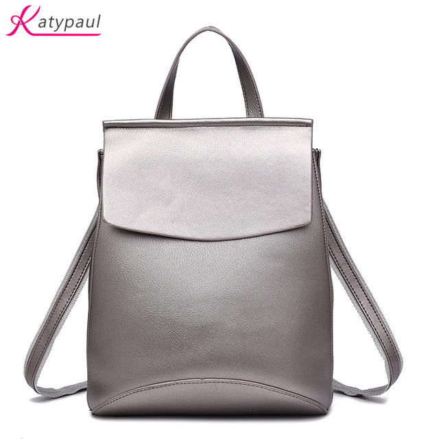 c6e3c479ece4 Backpack Women Good Quality PU Leather Women Backpack 2017 Casual Student  School Backpacks Fashion Travel Backpacks Black Silver