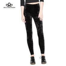 Bella Philosophy 2017 весенняя мода эластичный Тонкий бархат цвет Леггинсы ноги штаны