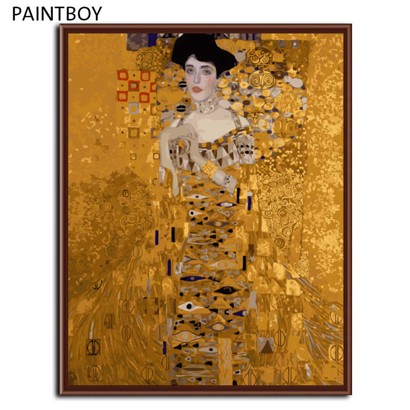 Mrs. Bauer Klimt Oil Painting Frameless Picture Painting By Numbers DIY Digital Canvas Oil Paintng Home Decor Living Room G321