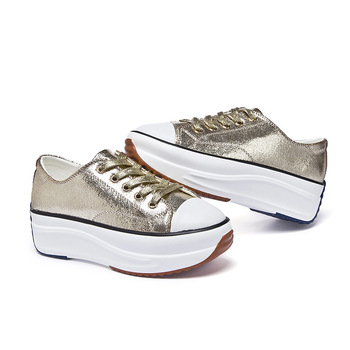 Med Heels Ladies Casual Shoes 2019 Spring Fashion Gold Silver Womens Genuine Leather Women Sneakers Autumn Platform