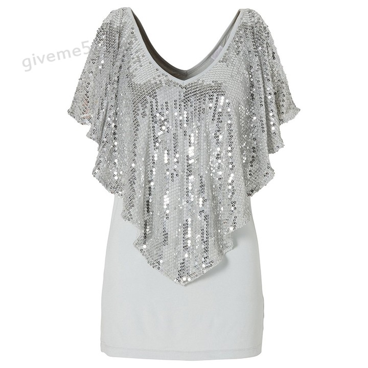 Brand New loose top women 2017 Summer Plus size Sequin Glitter ...