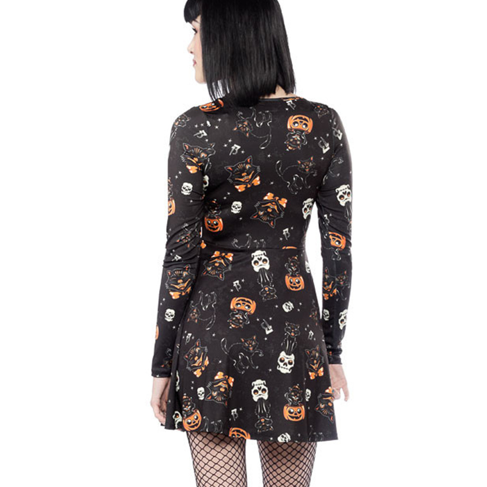 women dress fashion black dress women clothes 2018 long sleeve ladies new fall halloween festivals gothic vestidos winter in Dresses from Women 39 s Clothing