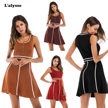 LALYSSE New Fashion Women Dress Summer Female Sweet Beauty Tank Sport Casual Style Patchwork O-neck Mini Slim Sexy