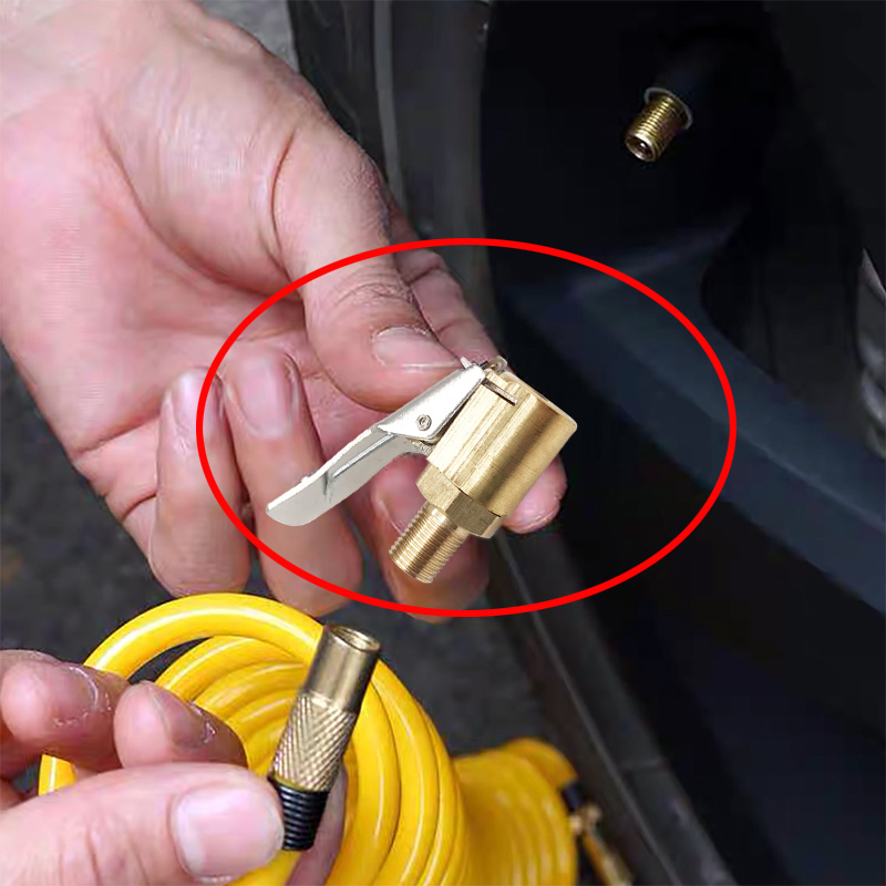 1PC Car Auto Brass 8mm Tyre Wheel Tire Air Chuck Inflator Pump Valve Clip Clamp Connector Adapter car accessories free shipping(China)