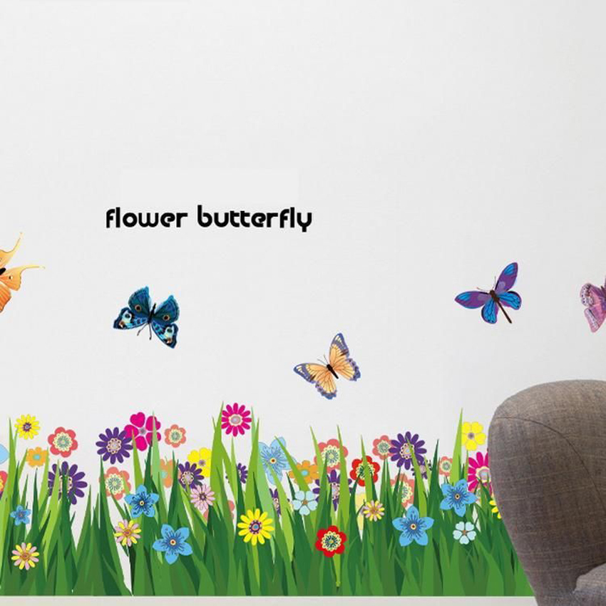 Free Ship Cartoon DIY Flower Grass Butterfly Wall Border Decal Removable Windows Adhesive Stickers Kids Decor Home Decoration In From