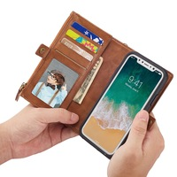 Luxury PU Leather Flip Cover For IPhone 8 X 10 7 Plus Multifunctional Wallet Card Stand