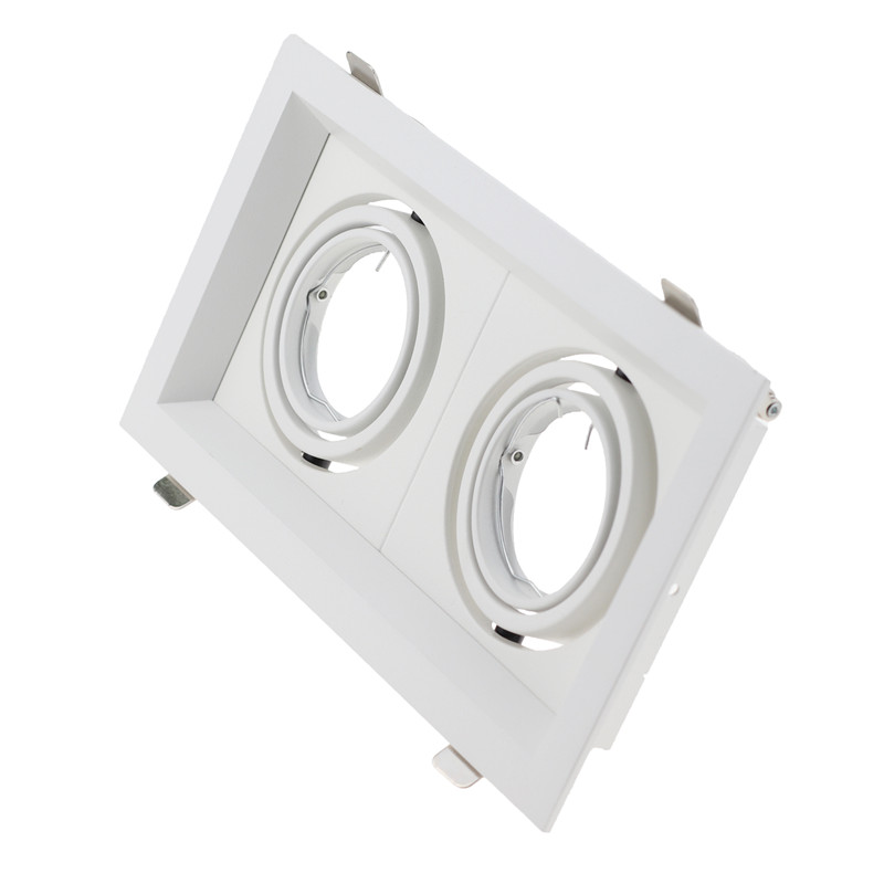 100pcs/lot Square Double Head Rotatable Downlight Fixture Gu10 Mr16 Housing Frame Recessed Led Lamp Fitting For Led Spot Light Lights & Lighting