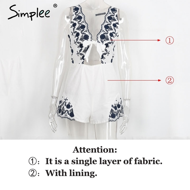 Simplee Elegant v neck floral embroidery jumpsuit romper women Sexy cut out sleeveless playsuits Summer beach overalls leotard
