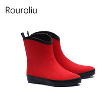 Rouroliu Women Non-Slip Ankle Rain Boots Waterproof Fabric Water Shoes Woman Slip-on Wellies Solid Color RB16