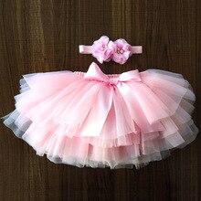 Фатиновая юбка-пачка для маленьких девочек, шаровары для новорожденных, комплект из 2 предметов, короткая юбка+ повязка на голову, юбка-пачка юбки для девочек юбка радужной расцветки