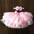 Фатиновые шаровары-пачки для маленьких девочек, комплект из 2 предметов: короткая юбка + повязка на голову, юбка для девочек Радужная юбка