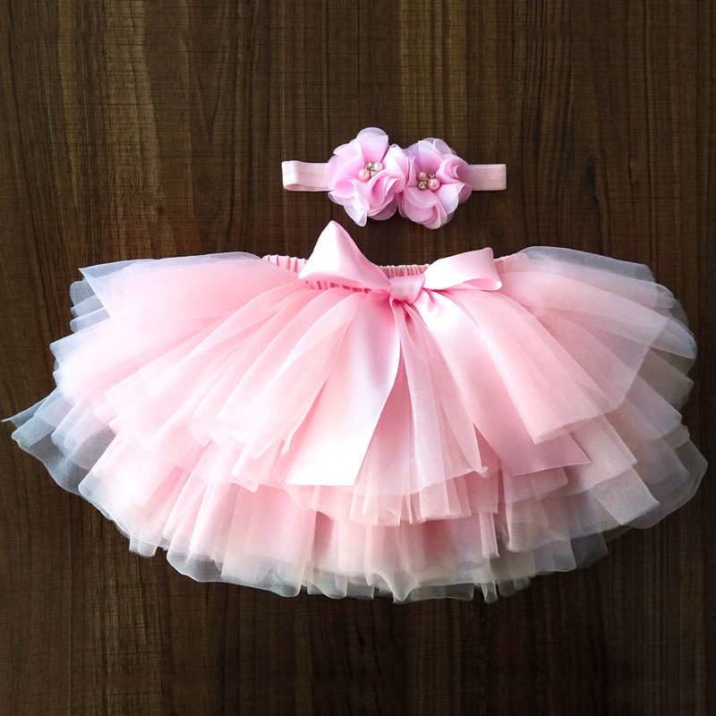 Baby Girls Tulle Tutu Bloomers Infant Newborn Diapers Cover 2pcs Short Skirts+Headband Set Tutu Skirt Girls Skirts Rainbow Skirt