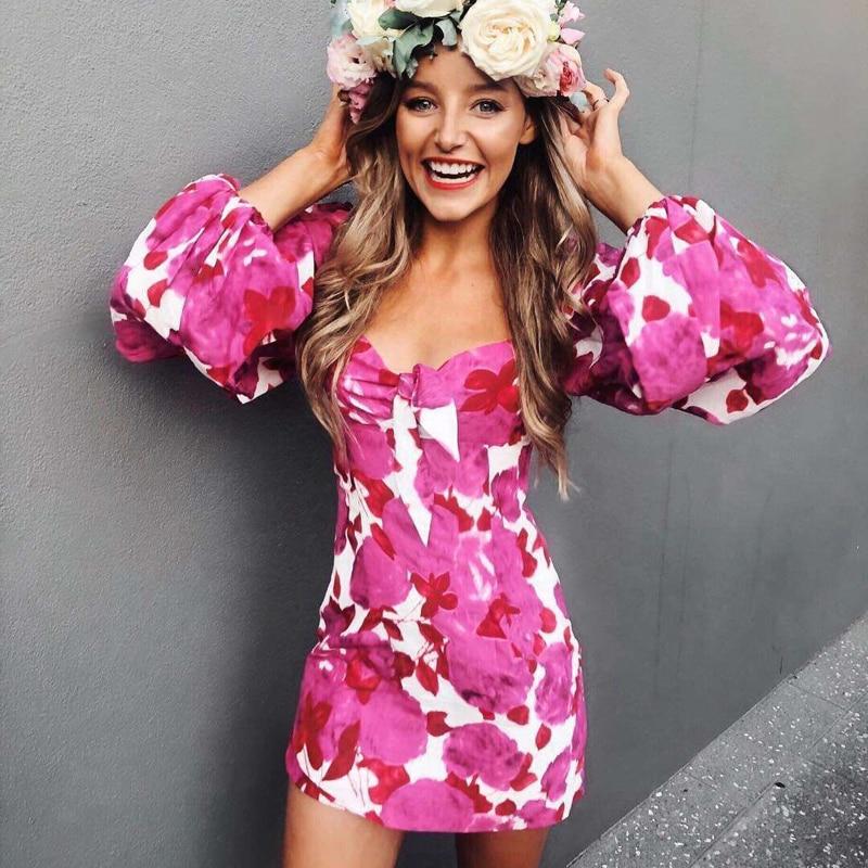 2019 Runway Designer Floral Print Woman Mini Dress Elegant Hollow Out Long Sleeve Woman Sweet Dress