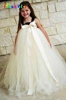Bej Renk Yumuşak Tül Çiçek Kız Tutu Elbise Genç Nedime Düğün Elbise Bebek Pageant Parti Önlük Çocuklar Festivali Kostüm