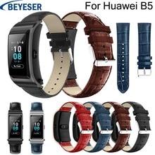 18mm wrist strap for Huawei B5 Leather watchband Crocodile Grain pattern bracelet watchstrap replacement wristbelt