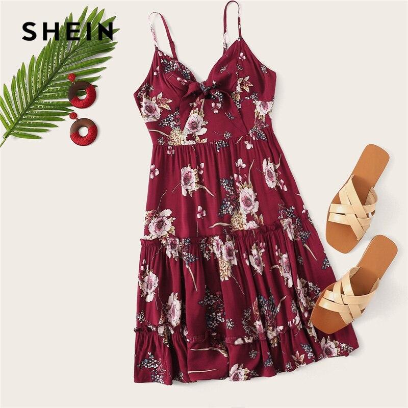 Шеин Boho милый бордовый цветочный принт лук узел спереди оборкой Cami летнее платье для женщин Высокая талия Fit and Flare скольжения платья для