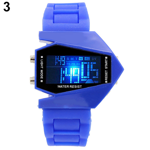 Cool Men's Oversized Design Light Digital Sports Plan Shaped Dial Wrist Watches 11