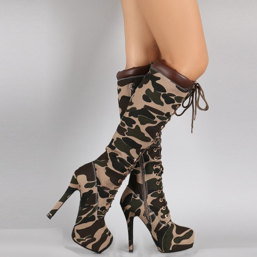 Camouflage Canvas Women Pointed Toe High Stiletto Heel Boot Knee High Lace Up Bootie Women Army Green Platform Shoes Ladies 2016 leopard synthetic suede women pointed toe high stiletto heel boots knee high lace up bootie women platform shoes ladies 2016
