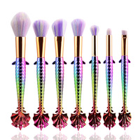 New 7 PCS Unicorn Mermaid Makeup Brush Set Rainbow Fish Tail Foundation Powder Eyeshadow Make Up