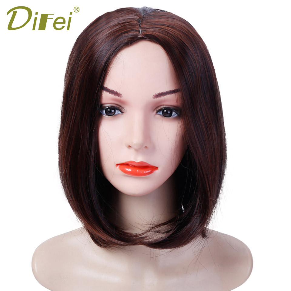 DIFEI 3 Colors Short Bob Style Wigs Short Straight Cosplay Wig Natural Synthetic Heat Resistant Wig For Women